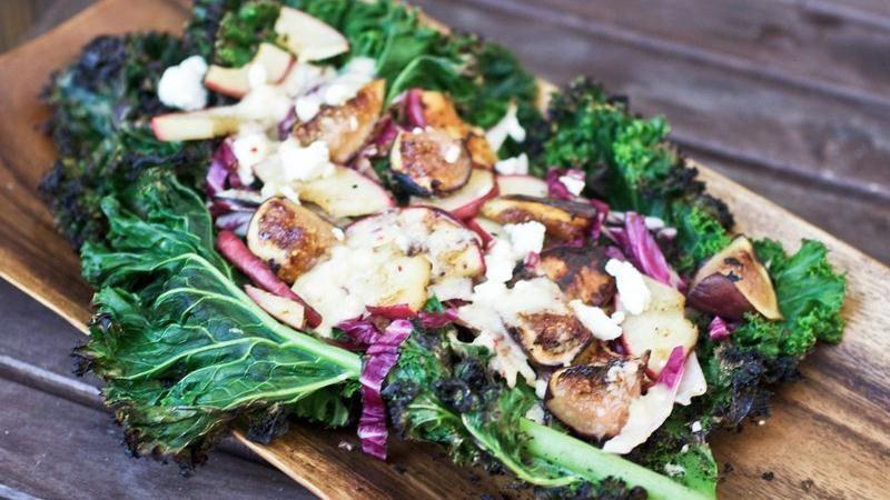 Grilled Kale, Fig and Apple Salad