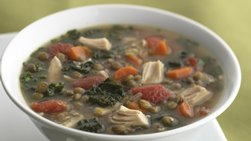 Skinny Lentil and Tomato Chicken Soup
