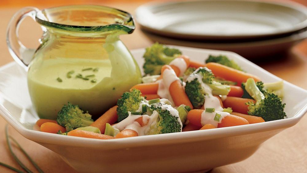 Broccoli and Carrots with Creamy Parmesan Sauce