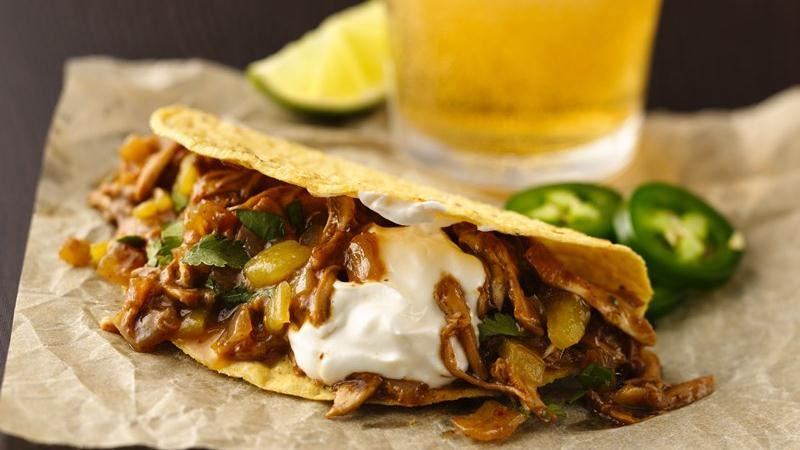 Beer-Braised Chicken Tacos recipe from Betty Crocker