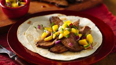 Flank Steak Tacos with Mango Salsa
