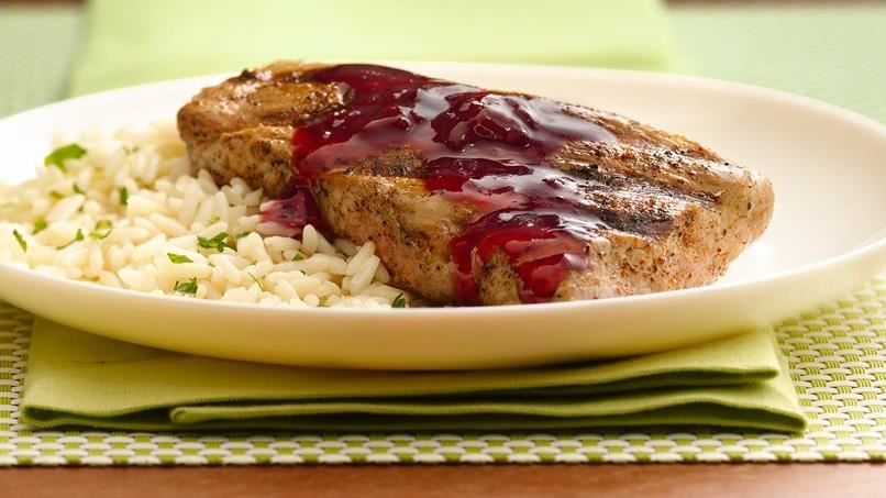 Grilled Pork Tenderloin with Raspberry-Chipotle Sauce