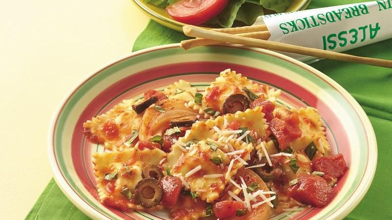 Ravioli with Tomatoes and Olives