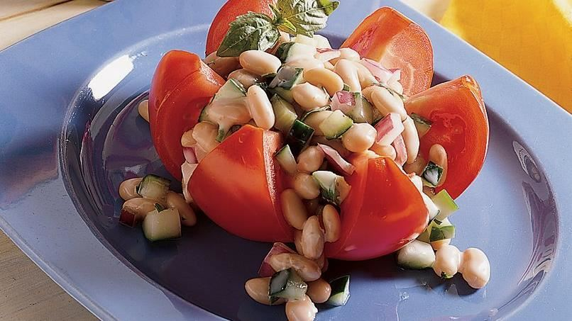 White Bean Salad in Tomato Flowers