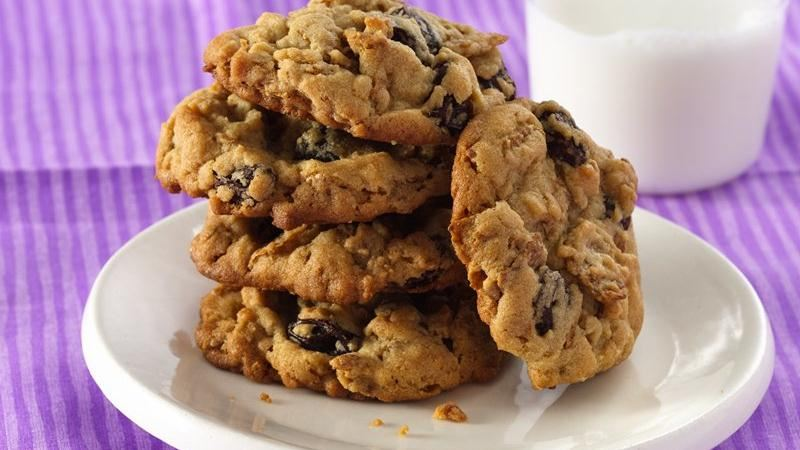 Peanut Butter-Raisin Bran Cookies