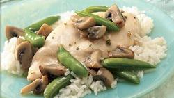 Chicken, Mushrooms and Sugar Snap Peas Over Rice