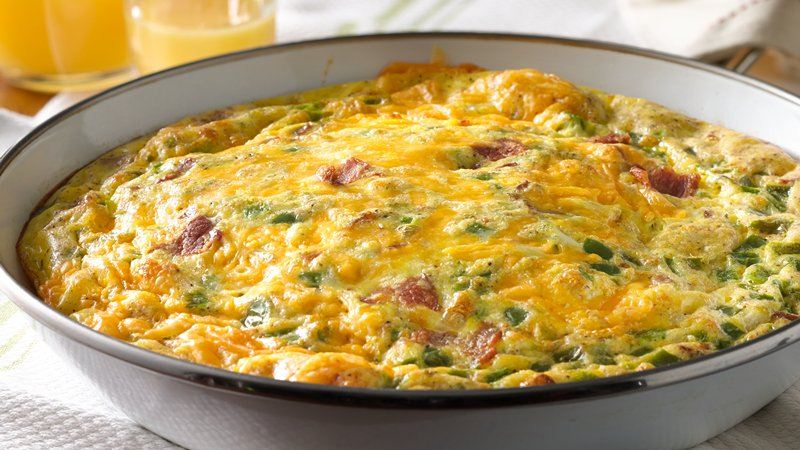 Bacon, Ham and Cheddar Omelet Bake recipe from Betty Crocker