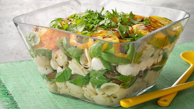 Layered Pasta Caprese Salad