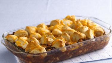Cheesy Biscuit Bean and Beef Casserole