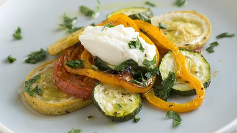 Roasted Summer Vegetable Salad with Ricotta
