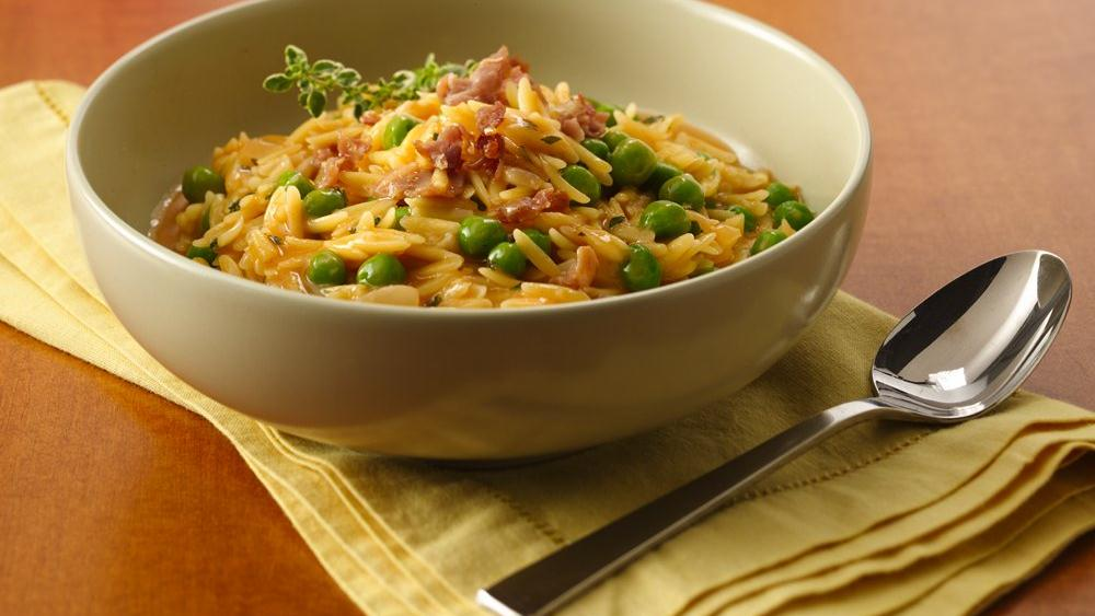 Pastina Risotto with Peas and  Prosciutto