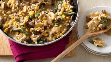 Corn and Green Bean Beef Stroganoff
