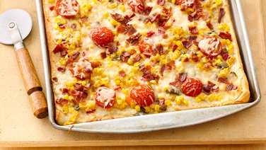 Gina's White Pizza with Sweet Corn & Bacon