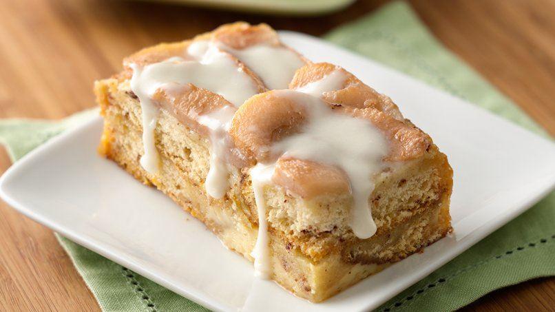 Cinnamon Roll-Pear Bread Pudding
