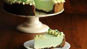 Boozy Shamrock No Bake Cheesecake