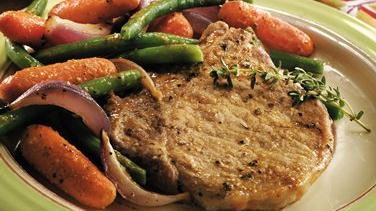 Oven-Roasted Pork Chops and Vegetables