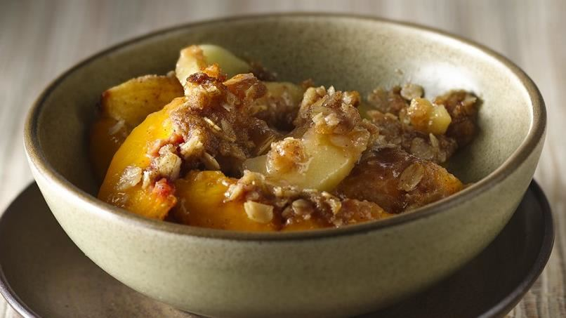 Walnut Apple-Peach Crisp with Cinnamon-Brown Sugar Crumble