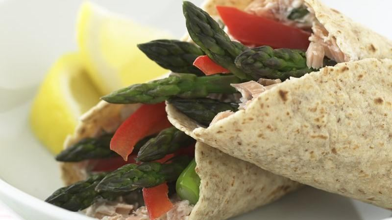 Healthified Lemony Asparagus and Smoked Salmon Wraps