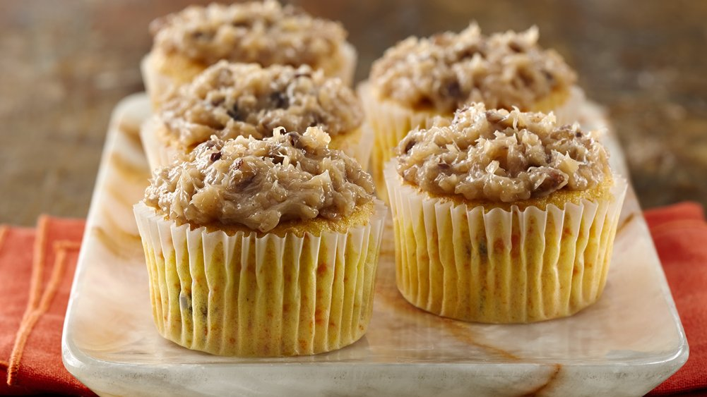 Carrot Cupcakes with Coconut Pecan Frosting recipe from Pillsbury.com