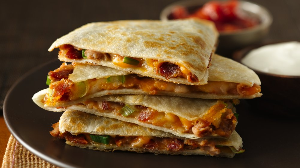 Cheesy Bacon Bean Quesadillas recipe from Pillsbury.com