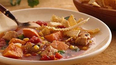 Southwest Chicken Soup with Baked Tortilla Strips