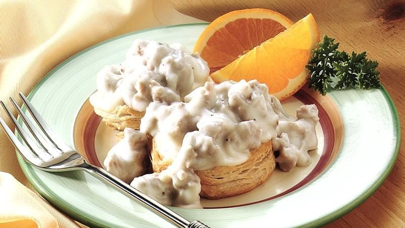Biscuits and Peppered Sausage Gravy