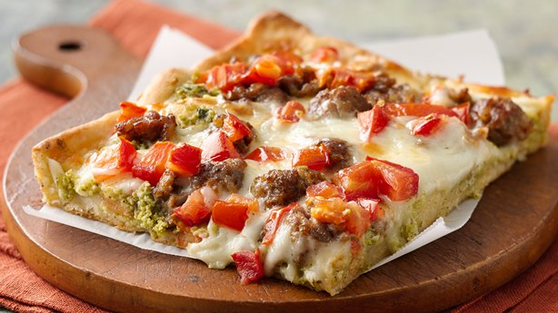 Sicilian-Style Pizza with Broccoli Pesto