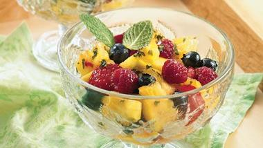 Pineapple-Berry Salad with Honey-Mint Dressing
