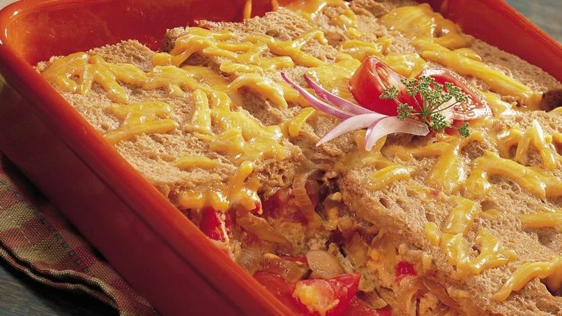 Cheddar Strata with Grilled Onions