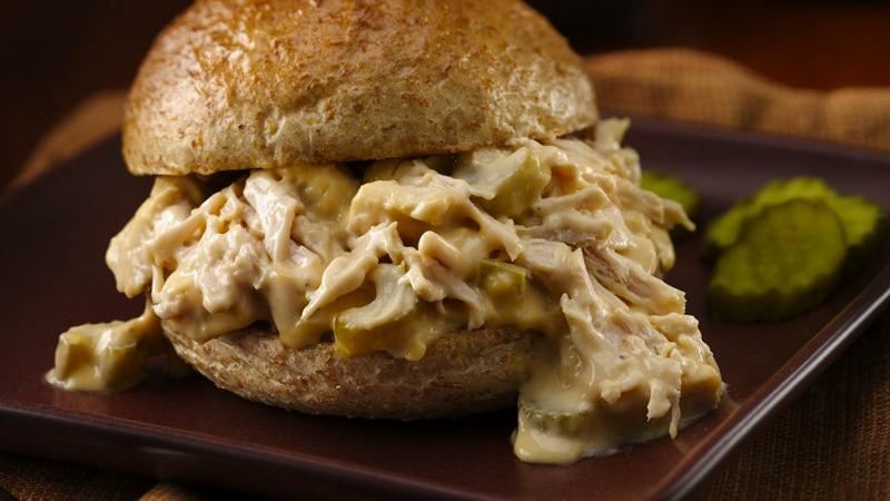 Slow-Cooker Cheesy Turkey Sandwiches