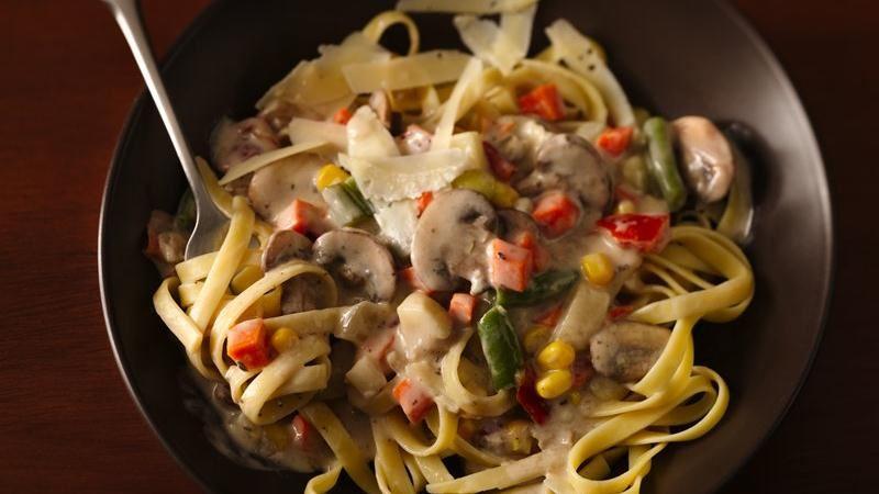 Mushroom Vegetable Ragu with Fettuccine