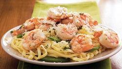 Dilled Shrimp and Sugar Peas with Linguine