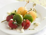 Tomato, Cucumber and Melon Skewers