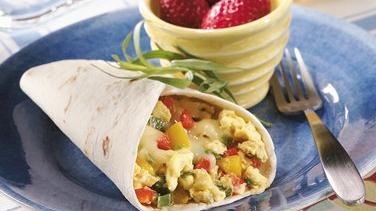 Three-Pepper Breakfast Burritos