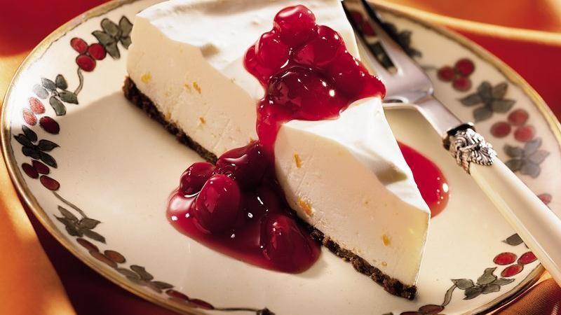 Orange Crème Dessert with Ruby Cranberry Sauce