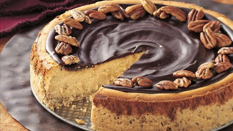 Butter Pecan Cheesecake with Chocolate Glaze recipe from ...
