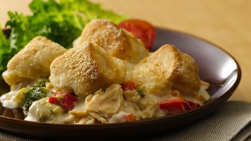 Chicken and Veggie Alfredo Biscuit Bake