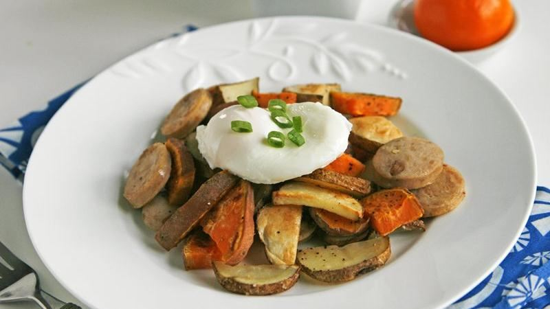 Roasted Two-Potato and Sausage Hash with Poached Eggs