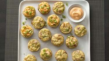 Cheesy Broccoli Puffs with Sriracha Mayonnaise