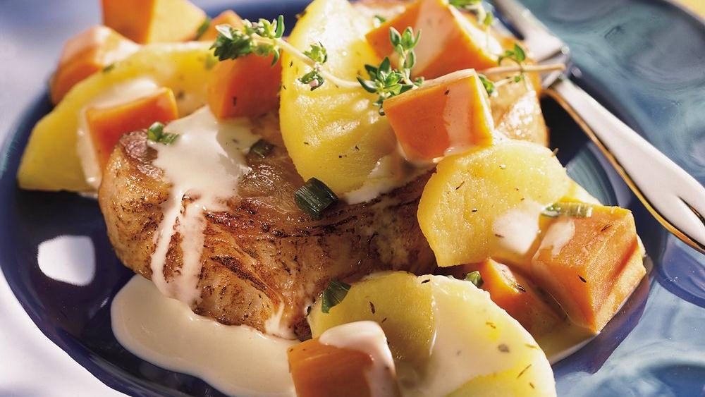 Skillet Pork, Apples and Sweet Potatoes