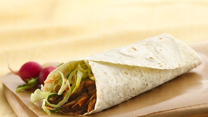 Slow-Cooker Pulled Pork Wraps with Coleslaw