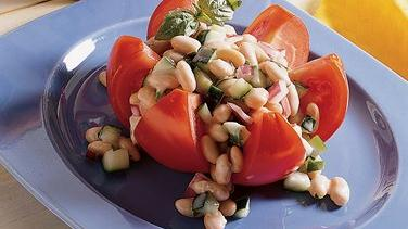 White Bean Salad in Tomato Flowers