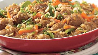 Asian Meatball and Rice Toss