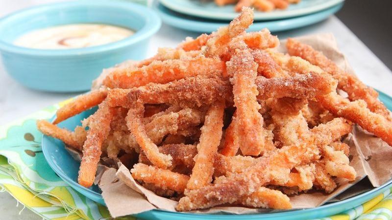 Sassy Sugar Cinnamon Sweet Potato Fries with Creamy Coconut Maple Dipping Sauce
