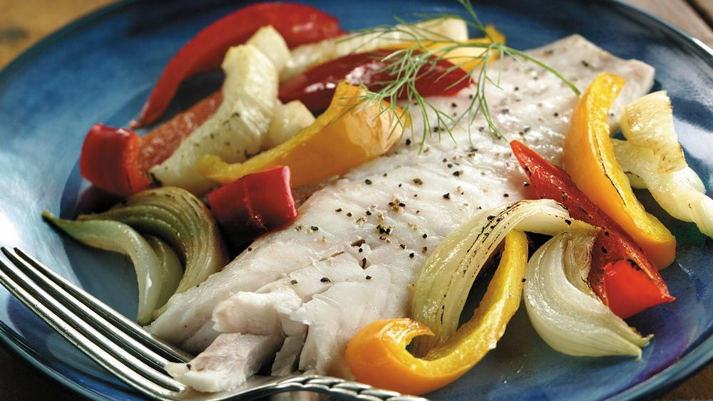 Roasted Snapper with Fennel and Bell Peppers