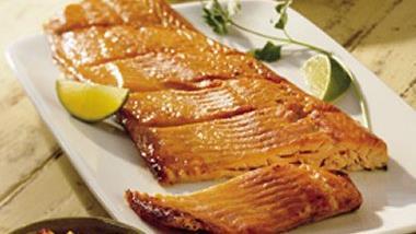 Planked Salmon with Peach Mango Salsa