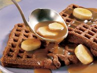 Chocolate Waffles with Caramel-Banana Topping