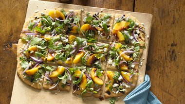Gluten-Free Peach, Goat Cheese and Arugula Flatbread