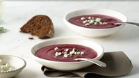 Vegetarian Beet Soup with Goat Cheese and Dill