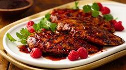 Pollo Asado con Glaseado de Chipotle y Frambuesa